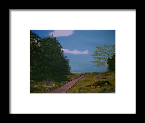 Landscape Framed Print featuring the painting Pathway by Dottie Briggs