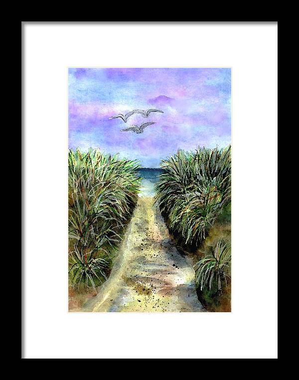Beach Framed Print featuring the painting Pathway To The Shore by Dina Sierra