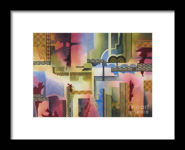 Abstract Framed Print featuring the painting Pathways by Deborah Ronglien