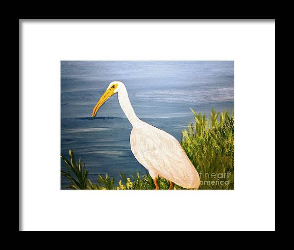 Egret Framed Print featuring the painting Patience by Nancy Turner