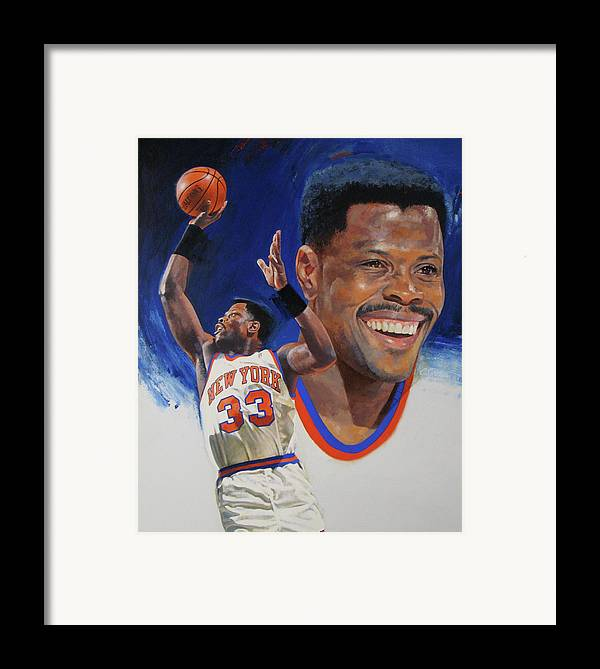 Oil/alkyd Framed Print featuring the painting Patrick Ewing by Cliff Spohn