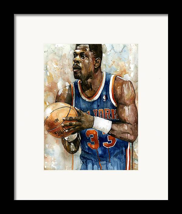 Patrick Ewing Framed Print featuring the painting Patrick Ewing by Michael Pattison