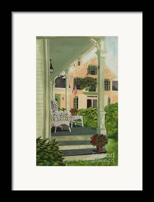 Side Porch Framed Print featuring the painting Patriotic Country Porch by Charlotte Blanchard