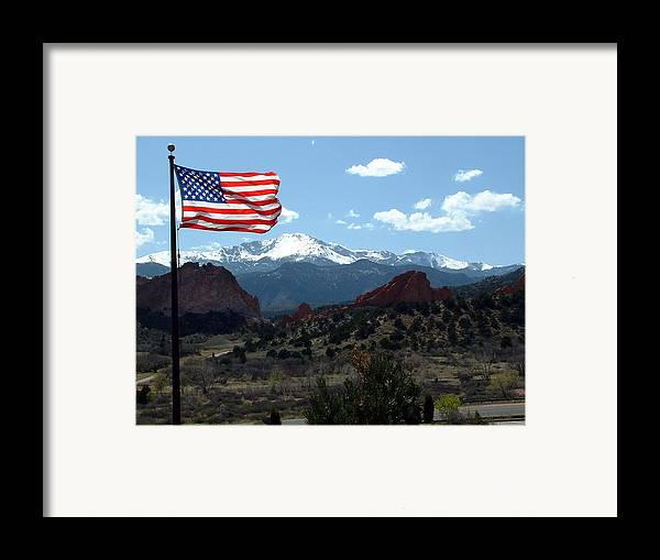 Flag Framed Print featuring the photograph Patriotism At Pikes Peak by Diane Wallace