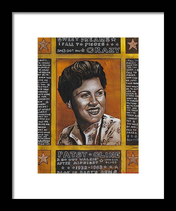 Patsy Cline Framed Print featuring the painting Patsy by Ray Stephenson