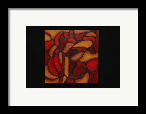 Abstract Framed Print featuring the painting Pattern 1 by Mary Silver