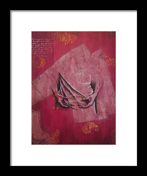 Hands Framed Print featuring the painting Pattern Pieces by Rowena Finn