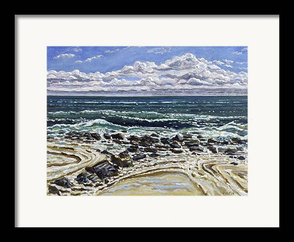 Ocean Framed Print featuring the painting Patterns In The Sand by Ralph Papa