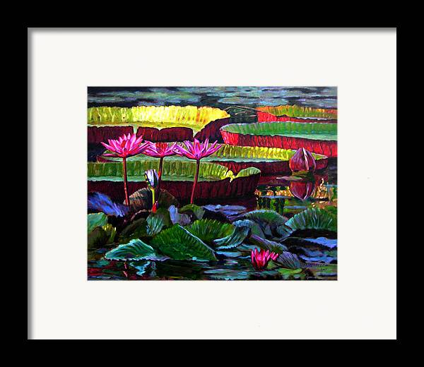 Water Lilies Framed Print featuring the painting Patterns Of Color And Light by John Lautermilch