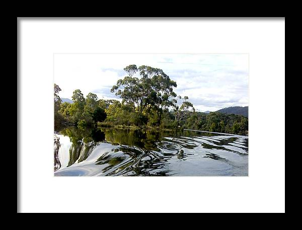 Water River Trees Reflections Patterns Swirls Framed Print featuring the photograph Patterns On Water by Bethwyn Mills