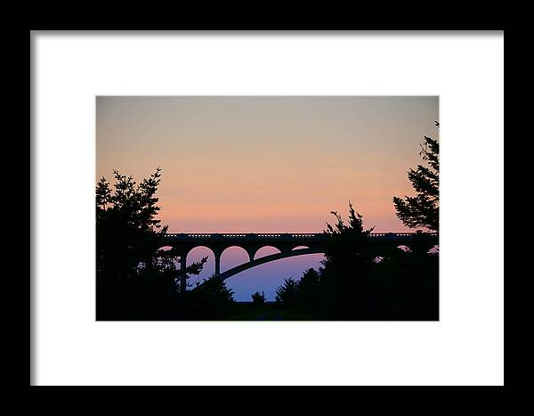 Gold Beach Oregon Framed Print featuring the photograph Patterson Bridge Sunrise by Renita Confer