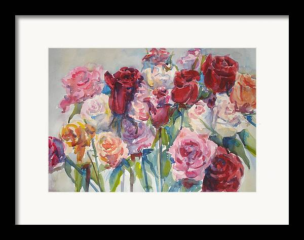 Roses Framed Print featuring the painting Paul's Roses II by Joyce Kanyuk
