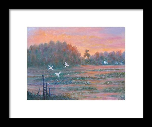 Low Country; Egrets; Sunset Framed Print featuring the painting Pawleys Island by Ben Kiger