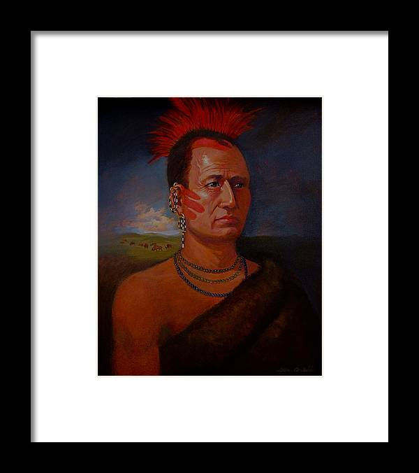 American Indian Plains In Headdress Framed Print featuring the painting Pawnee Chief Around 1820 by Alan Carlson