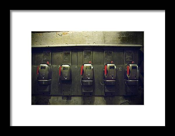 Pay Phones Framed Print featuring the photograph Pay Phones In Alley, Venice by Dan Nourie