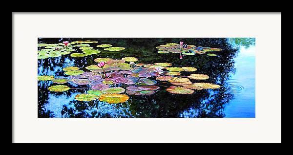 Water Lilies Framed Print featuring the painting Peace Among The Lilies by John Lautermilch