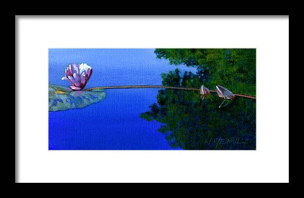 Water Liliy Framed Print featuring the painting Peace And Beauty by John Lautermilch