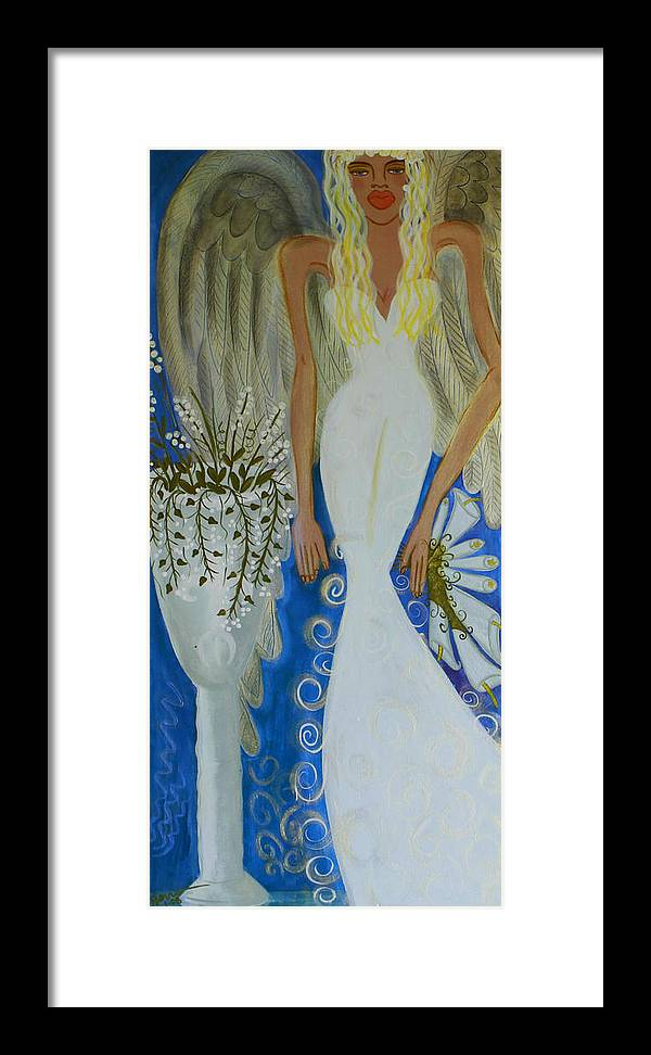 Angel Artwork Framed Print featuring the painting Peace And Love Angel by Helen Gerro