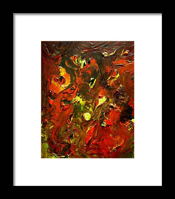 Abstract Framed Print featuring the painting Peace And Pain by Karen L Christophersen