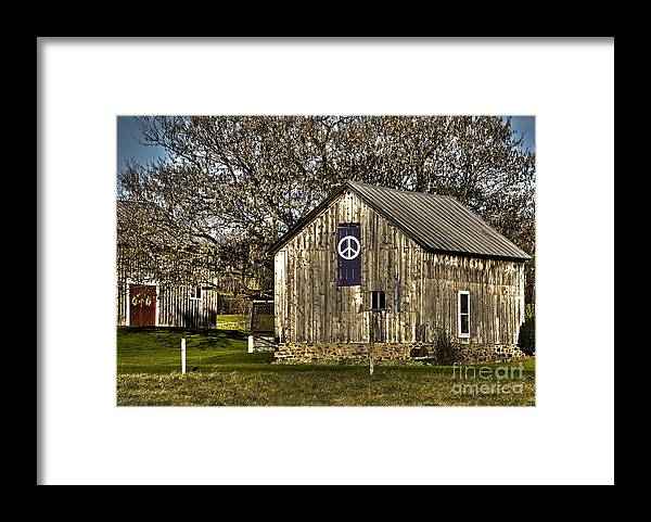 Diane Berry Framed Print featuring the photograph Peace Barn by Diane E Berry