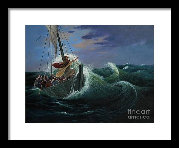 Bible Framed Print featuring the painting Peace Be Still by Michael Nowak