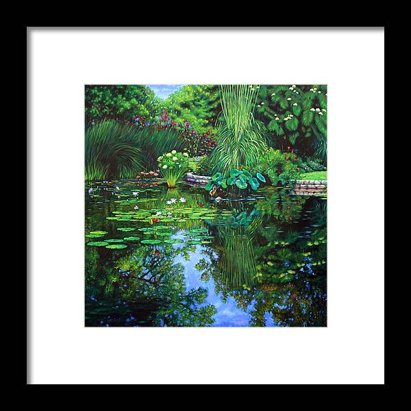 Landscape Framed Print featuring the painting Peace Floods my Soul by John Lautermilch