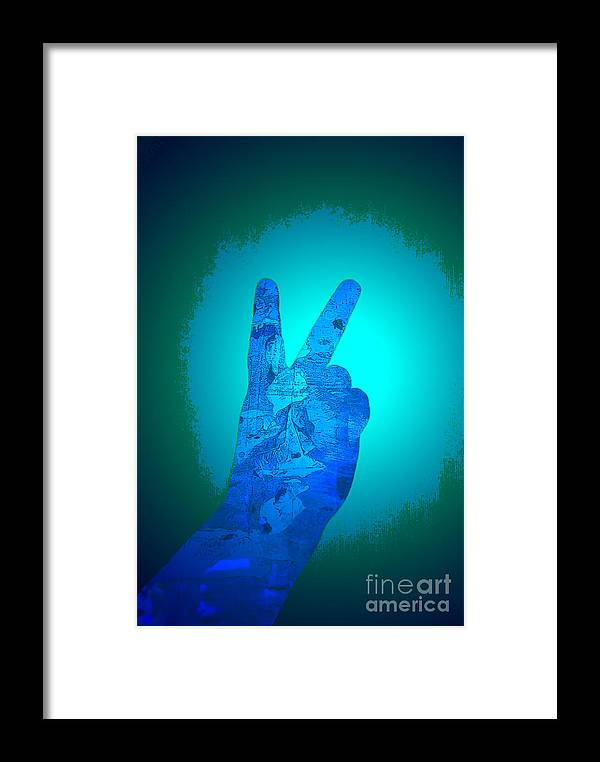 Hand Framed Print featuring the digital art Peace In The Headlight by Sean-Michael Gettys