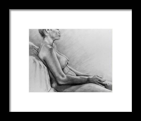 Woman Framed Print featuring the drawing Peace by John Clum