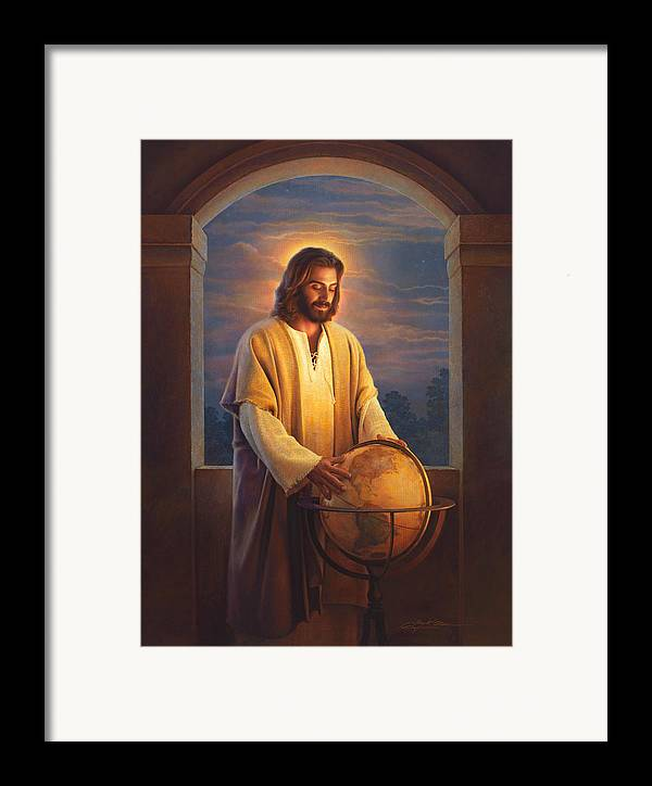 Jesus Framed Print featuring the painting Peace On Earth by Greg Olsen