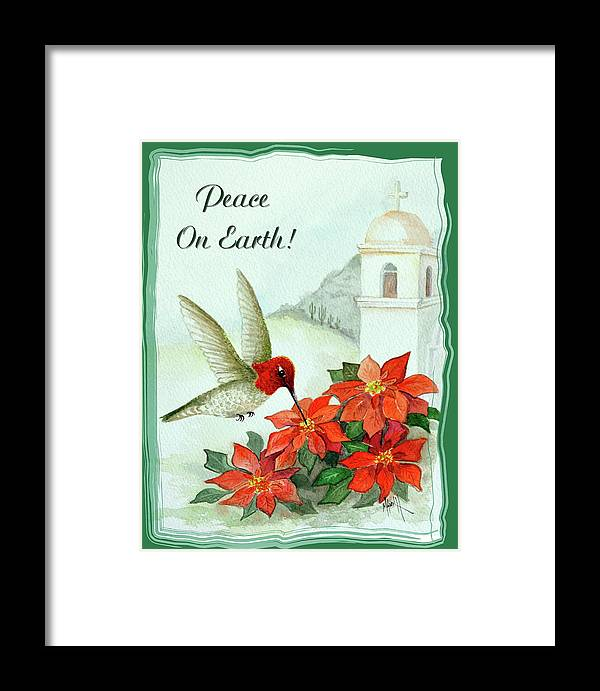 Christmas Card Framed Print featuring the painting Peace On Earth by Marilyn Smith