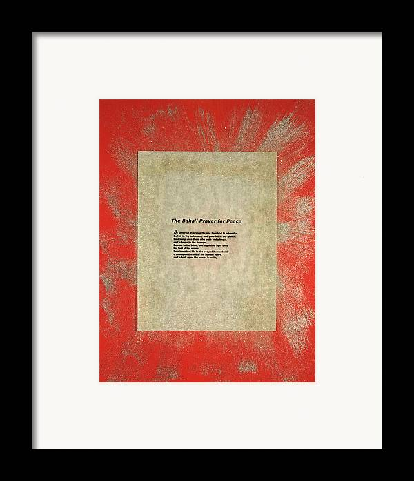 Peace Framed Print featuring the painting Peace Prayers - Baha'i Prayer For Peace by Emerald GreenForest