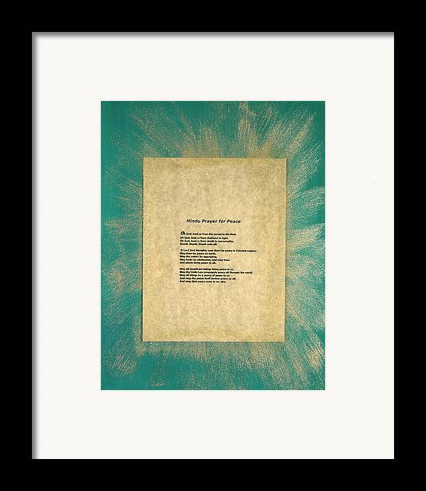 Peace Framed Print featuring the painting Peace Prayers - Hindu Prayer For Peace by Emerald GreenForest