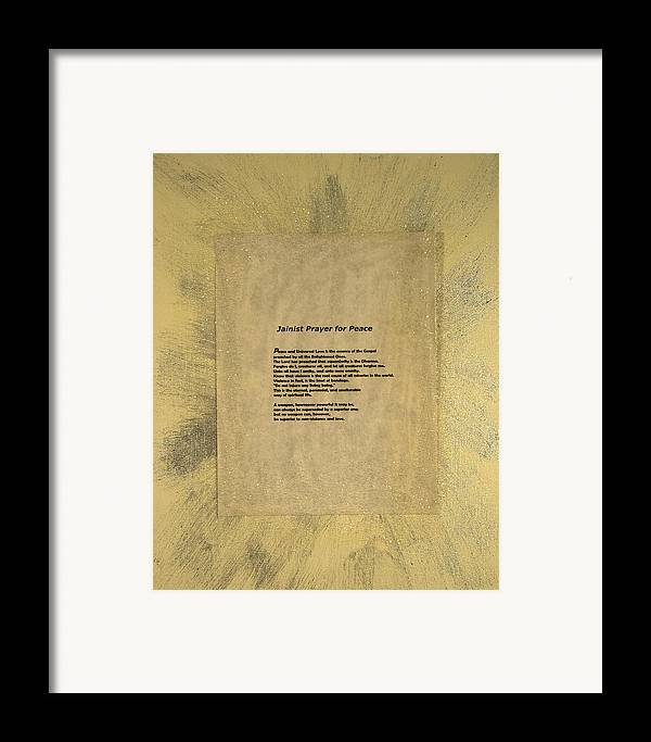 Peace Framed Print featuring the painting Peace Prayers - Jainist Prayer For Peace by Emerald GreenForest