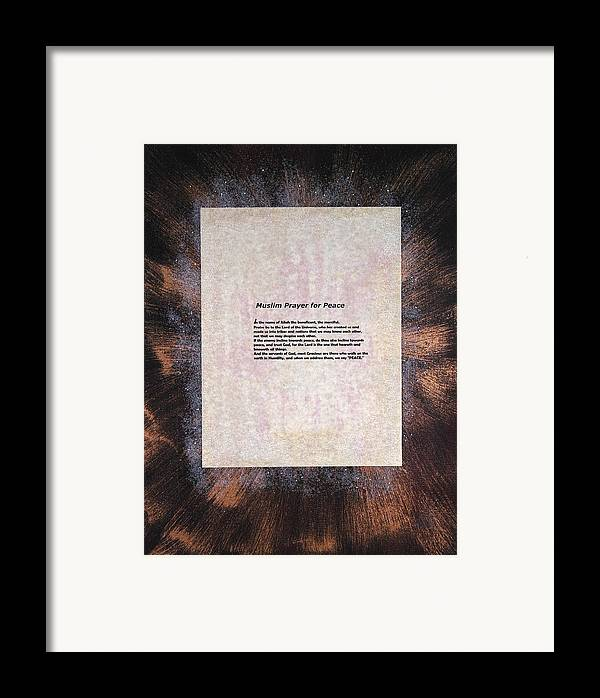 Peace Framed Print featuring the painting Peace Prayers - Muslim Prayer For Peace by Emerald GreenForest