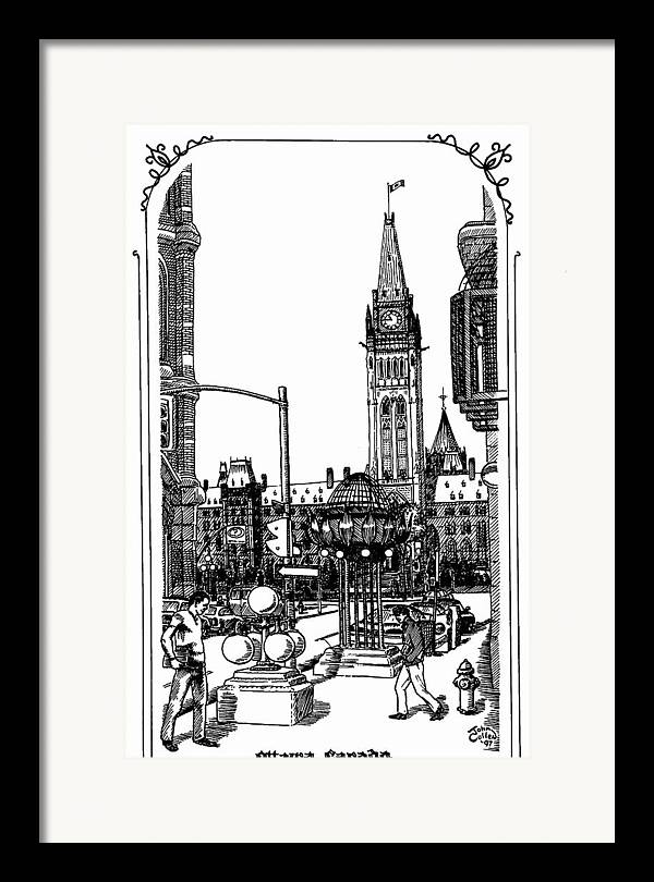 Cityscape Framed Print featuring the mixed media Peace Tower Parliament Hill Ottawa 1995 by John Cullen