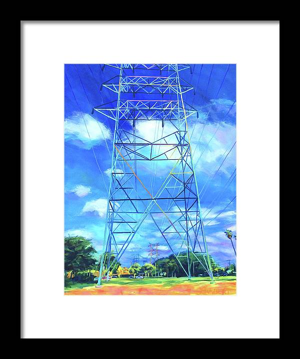 Power Tower Framed Print featuring the painting Peaceful by Bonnie Lambert