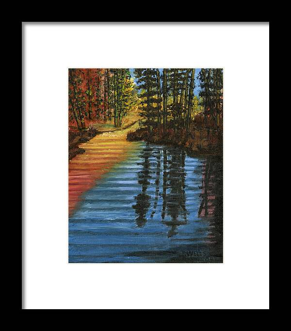 Peaceful Brook Stream Vibrant Color Reflective Framed Print featuring the painting Peaceful Brook by Tanna Lee M Wells