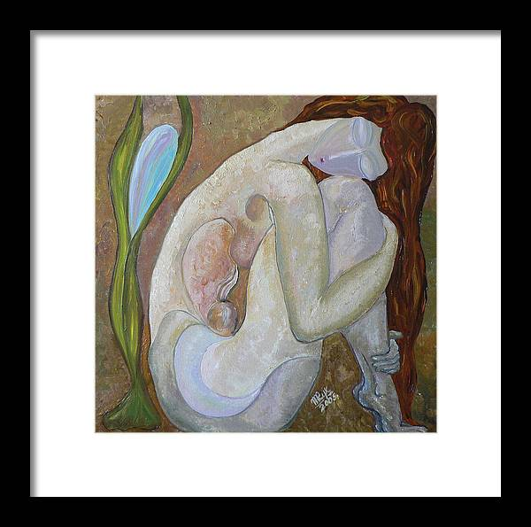 Figurative Art Paintings Framed Print featuring the painting Peaceful Dream by Mila Ryk