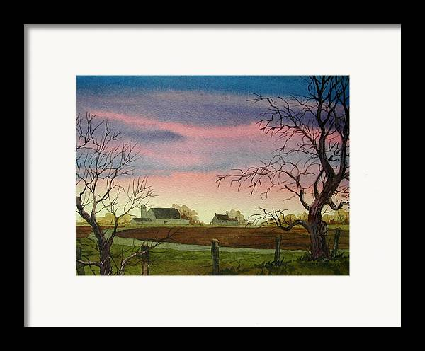 Amish Farm Framed Print featuring the painting Peaceful Evening by Faye Ziegler
