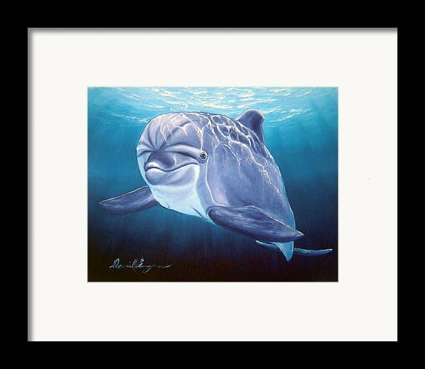Dolphin Framed Print featuring the painting Peaceful Greeting by Daniel Bergren