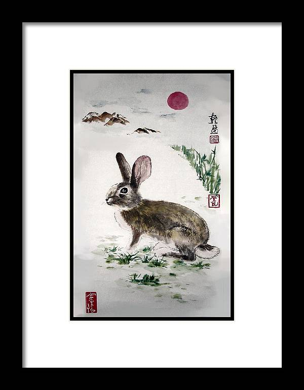 Rabbit Framed Print featuring the painting Peaceful by Lilian Storino