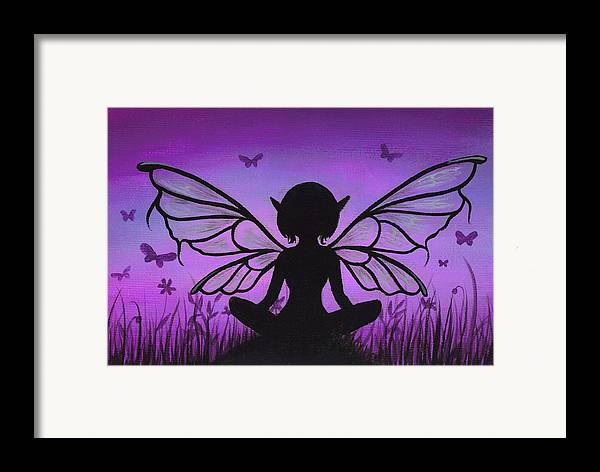 Fantasy Fairy Framed Print featuring the painting Peaceful Meadows by Elaina Wagner