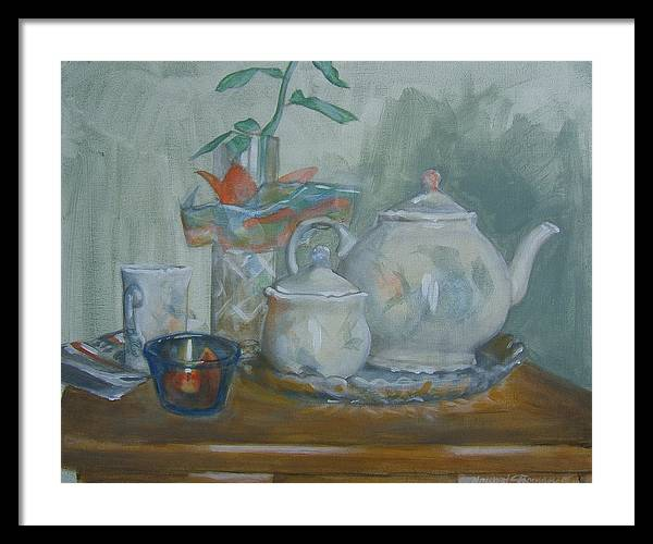 Still Life Framed Print featuring the painting Peaceful Morning by Howard Stroman