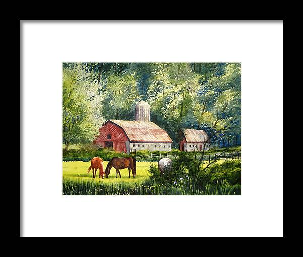 Landscape Framed Print featuring the painting Peaceful Pasture by Shirley Braithwaite Hunt
