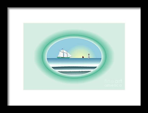 Peaceful Framed Print featuring the digital art Peaceful Porthole by Steve Smyth
