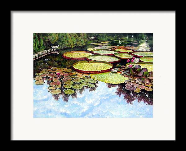 Landscape Framed Print featuring the painting Peaceful Refuge by John Lautermilch