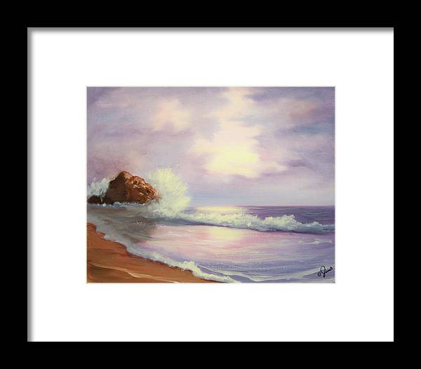 Seascape Framed Print featuring the painting Peaceful Sea by Joni McPherson