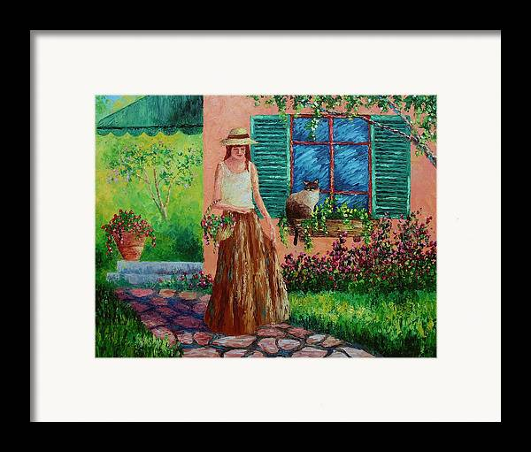 Woman Framed Print featuring the painting Peaceful Thoughts by David G Paul