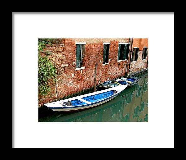 Framed Print featuring the photograph Peacefull Canal Parking by Joseph Reilly