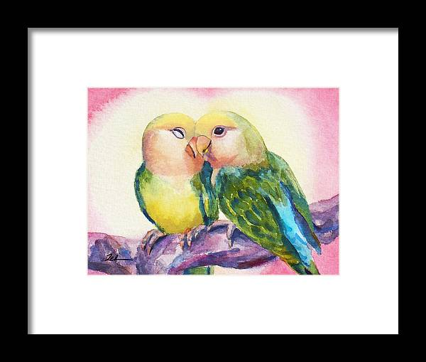 Lovebirds Framed Print featuring the painting Peach-faced Lovebirds by Janet Zeh
